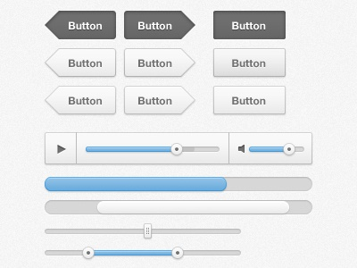 Cloudy ui ui kit interface button white ux webdesign player scrollbar progress bar