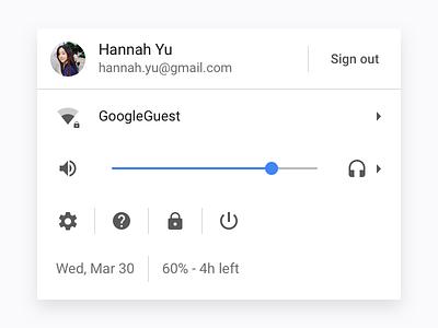 ChromeOS system menu slider simple icon google blue white laptop desktop chrome os ui