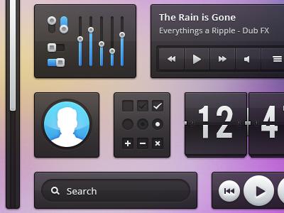 Transparent Ui kit ui interface transparent black blue button scrollbar play music video