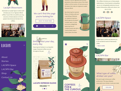 Lacàph - Coffees for the curious mobile layout mobile design mobile coffee shop coffees typography design ecommerce ux branding ui