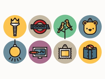 More website icons icons illustration vector colours torch train underground birds trees bear lightbulb computer frame stamp book