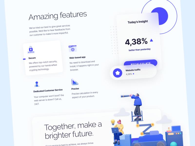 Sabertooth - Features Section website design web app design business marketing features section section 3d illustration 3d purple webdesign clean minimal design ui charts