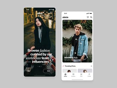 Ubiclo –Social Media for Fashionista influencers explore serif shopping shop details clothes story uiux social media fashion app editorial layout clean minimal