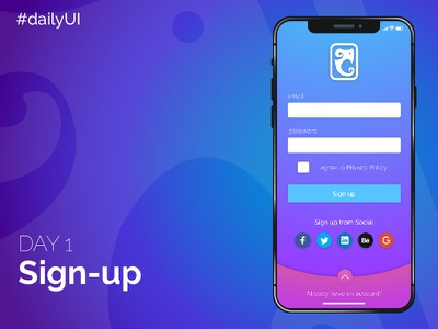 Day1 - Sign Up ui sign-up interface day1 dailyui