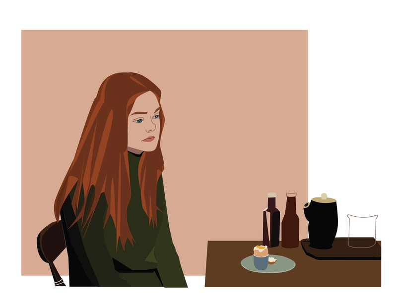 Ginger  And Rosa sad face portait character design girl illustration girl character character creation artwork illustration famous person improvisation passage scene movie character movie poster movie elle fanning ginger and rosa