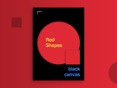 Red shapes on a black canvas_Layout exploration layout design poster a day poster art poster design web app uidesign layout exploration circles yellow blue red minimalist minimal poster shapes
