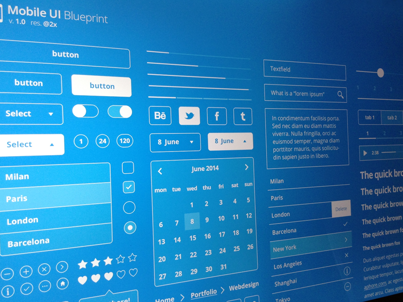 Mobile UI Blueprint (freebie) 1.3 mobile ui blueprint kit free freebie psd