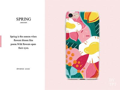 spring pattern case iphone spring art illustration