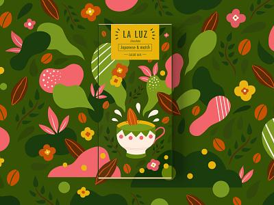 LA LUZ  packagedesign01 ——matcha matcha packagedesign chocolate illustration