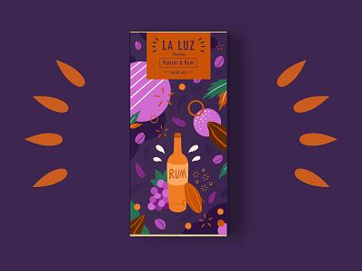 LA LUZ packagedesign02 ——raisins&rum rum raisins packagedesign chocolate illustration art