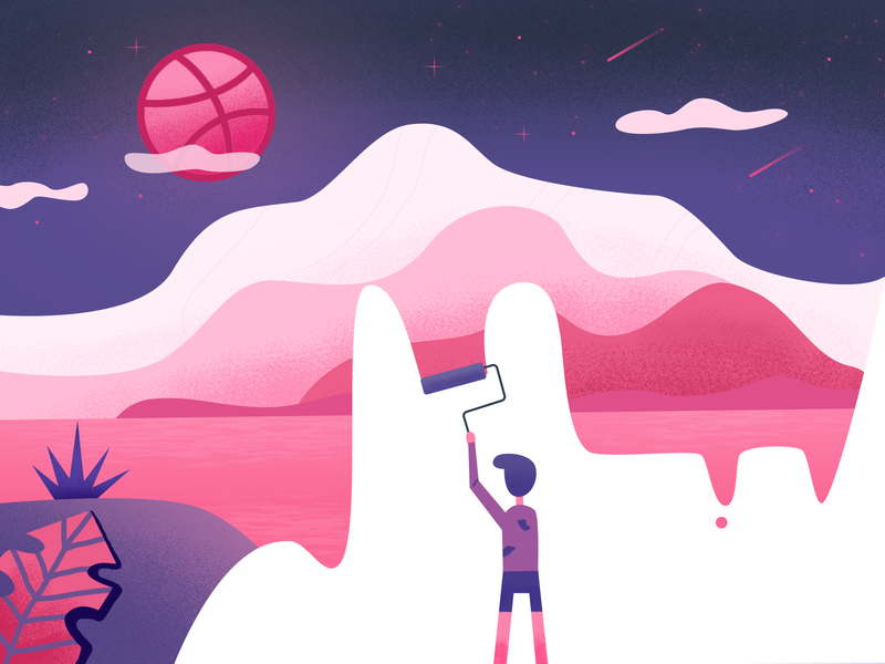Hello Dribbble! drawing people invites first shot sky hello dribbble illustration