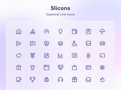 Slicons Line Icons ui icons line icons rounded corners minimal iconset icons