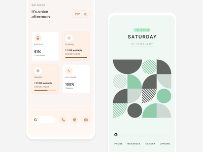 Elega Widgets mobile pattern android personalisation minimal widgets homescreen