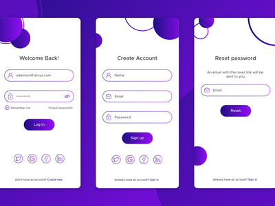 App Login/Signup create account sign in login page vector design app ui