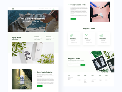 Boxed Water landing page landing page concept green conscious eco environmental boxed water website web ui ui design branding design