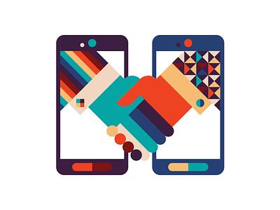 Hands hand phone handshake
