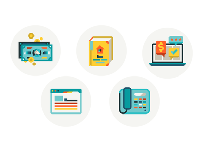 five new money book phone browser icons notebook