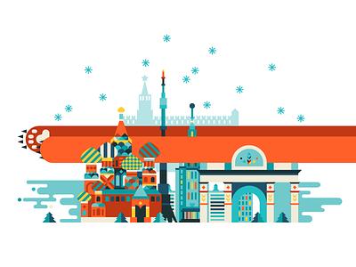 Moscow! moscow bear winter matreshka balalayka