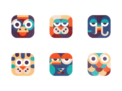 animals monkey lion elephant tiger eagle owl animal icon