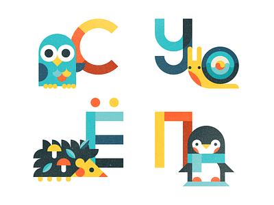 Russian ABC Book hedgehog snail penguin owl abc alphabet