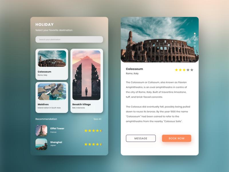 #explore31 - UI Design App Holiday enjoy adventure card design destination traveling app holiday uidaily uiinspiration uiappmobile ui uiux uidesigner dribbbble