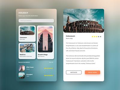 Holiday App Design enjoy adventure card design destination traveling app holiday uidaily uiinspiration uiappmobile ui uiux uidesigner dribbbble