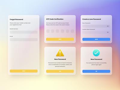 UI Design Forgot Password glassmorphism mobile app design uiux mobil ios app design password code otp gradient color artwork uxigers uidesigner illustration