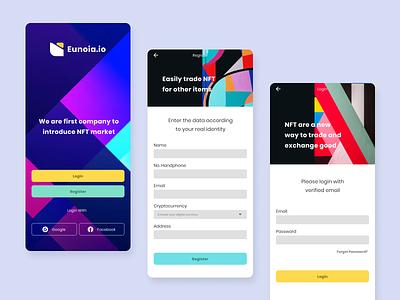 Eunoia.io   NFT Market App Design uiux cryptocurrency art login register form index menu ui designer nft market producy design mobile dribbbble