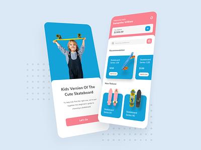 Kids Skateboard Shop Design App blue mobile app shop kid skateboard product design ui