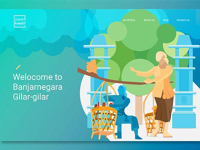 #explore2 - Papan Kreatif Landing Page Exploration gradient colorful banjarnegara dawet ayu uiwebsite uxigers illustration uidesigner