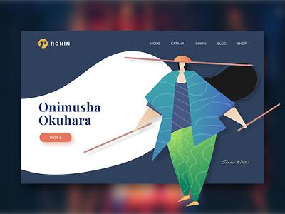 UI Design Ronin Landing Page uxigers landingpage darkblue ui  ux katana onimusha uiwebdesign ronin website uiuxdesign