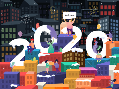 New Year Eve Illustration happy resolution new year party welcome new year eve gift night fireworks city village design art new year illustration dribbbble