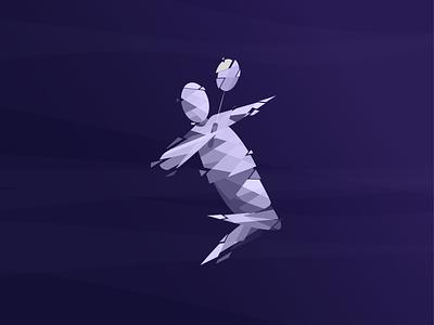 Illustration - Badminton monocrome artwork tesla design pixel art polygon lowpoly badminton illustration dribbbble