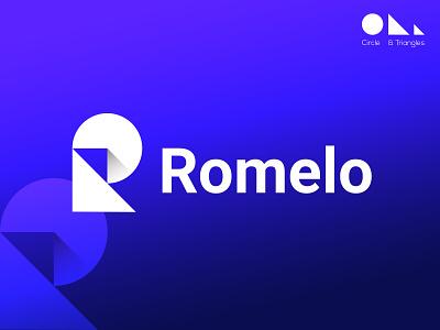 Romelo. identity vector logodesign popular logos minimal r logo r letter lettermark blue app icon mark logomark brandmark logo design brand design logotype branding logo