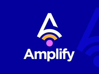 Amplify. minimal logomark brandmark popular logodesign tech symbol icon vector amplify mark a logo lettermark blue app logo design brand design logotype branding logo