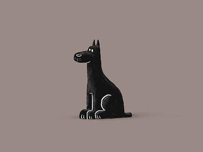 Black dog apple pencil ipad procreate drawing