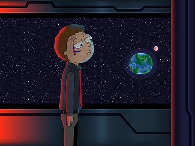 Evil Morty Arrives digital 2d evilmorty rickandmorty space art space vector artwork vector art vector illustration