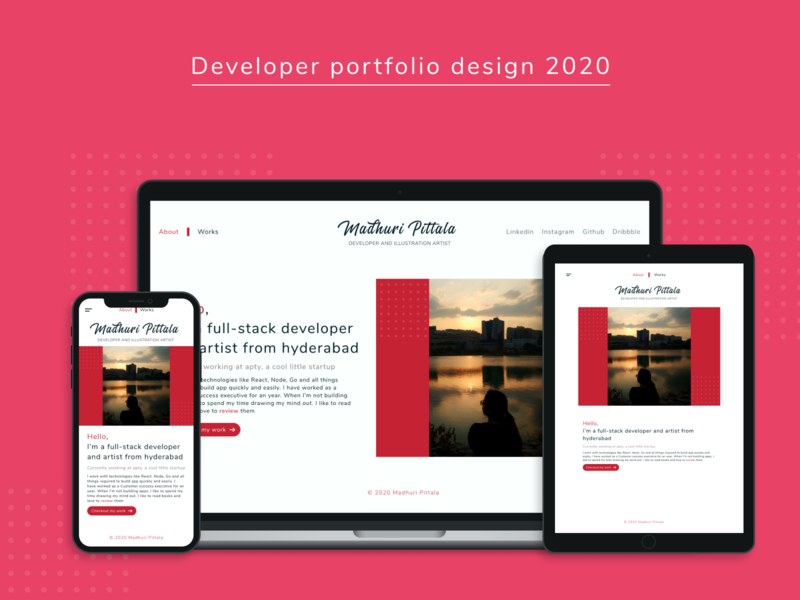 Developer portfolio design mobile design mobile ui layout app typography illustration developer landing page landing portfolio ux minimal design