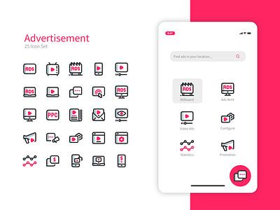 Advertisement Icon Set and UI Design game branding logo design advertising ads iconset flat icon set ux ui icon