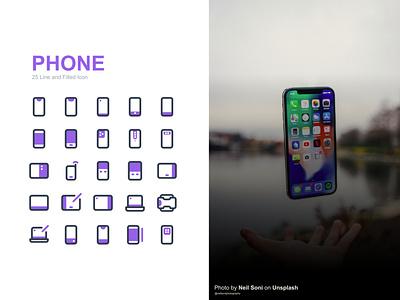 Phone Model icon Set icon design vector outline logo flat icon set iconset ui ux design icon