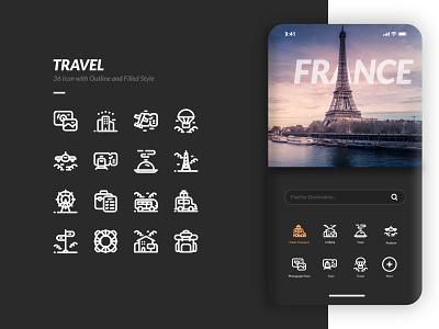 Travel Icon and UI Design icon design inspiration game illustration logo icon set iconset icon summer design ux ui travel