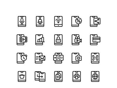 Phone Device Icon Set ui inspiration concept graphic icon design illustration flat design logo interface user set icon set icon