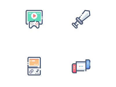 CONSOLE GAME ICON SET game ui ux app ux ui branding modern trend iconset character outline company design filled flat icon logo seo icon set vector