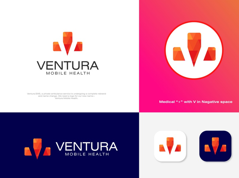 V Nagative space with Medical + Icon brand minimal icon illustration flat design logo clean branding creative