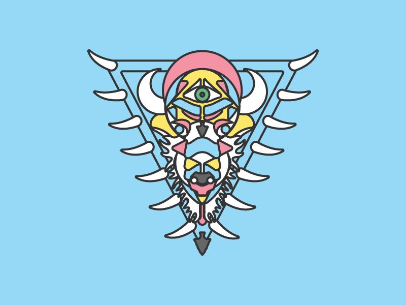 Buffalo Totem nature color geometry tribe graphic design design illustration