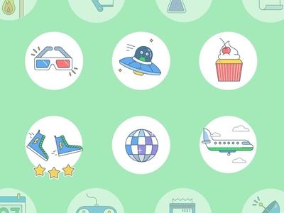 Badges Redesign - Part 1 shoes disco plane cupcake alien vector illustration illustration badges iadvize