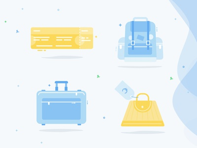 Time to travel - Illustrations handbag suitcase travel bag travel bag
