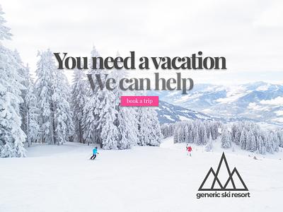Ski Vacation Landing Page call to action mountains snow ski landing page 003 dailyui