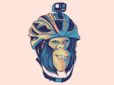 Helmet chimp vector illustration monkey chimp