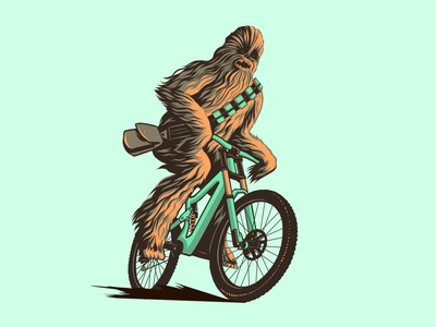 Downhill Wookiee mtb mountain bikes mountain bike ipad art ipadpro vector illustration vectorart chewbacca starwars